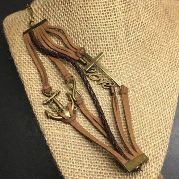 Brass Brown Leather Bracelet Multi Cord Love Cross Anchor Infinity